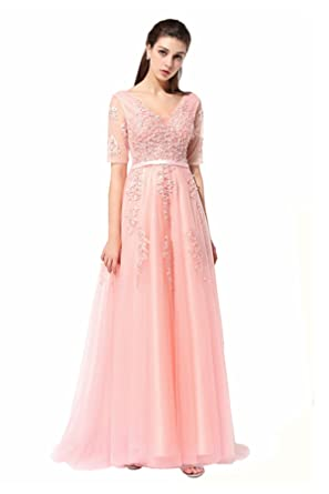 Womens V-Neck Half Sleeves Embroidery Long Party Prom Dress Evening Gown Light Pink US