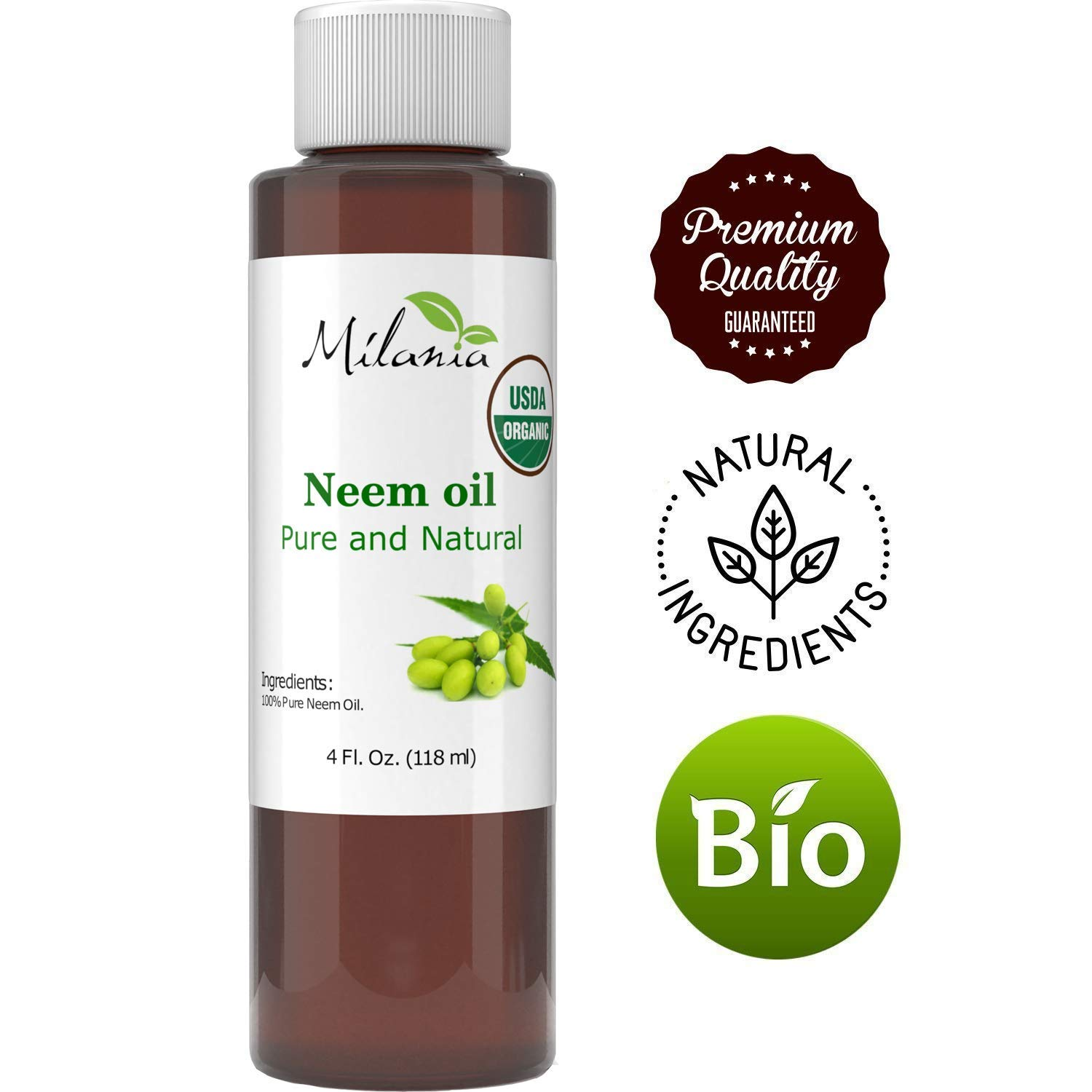Premium Organic Neem Oil Virgin, Cold Pressed, Unrefined 100% Pure Grade A. Excellent Quality. Same Day Shipping (4 Fl. Oz.)