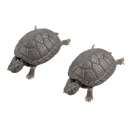 Decoración de tortuga Sourcingmap de plástico para pecera, 2 piezas, de color gris oscuro