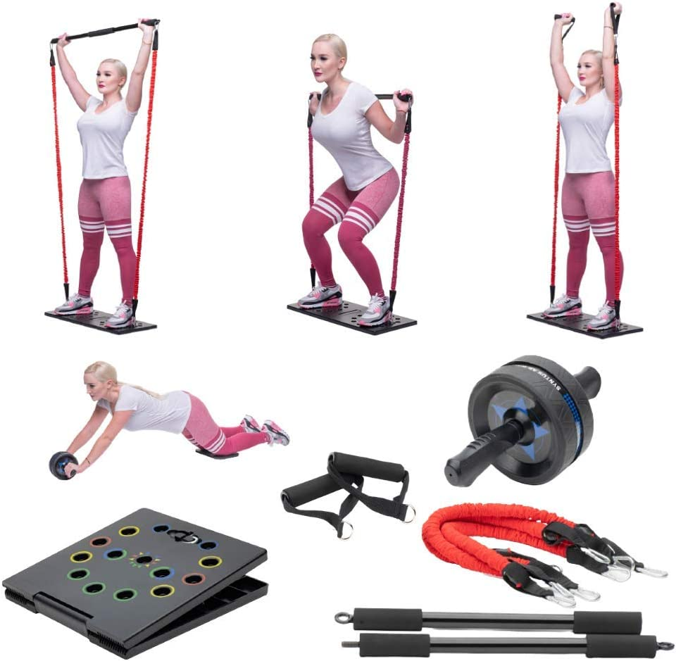 Generic Gym Radar Portable Home Gym Workout Set | 2 Resistance Bands, Collapsible Tricep Bar, Abs Roller Wheel, Grip Handles | Full Fitness Set for Building Muscle, Burning Fat & Cardio