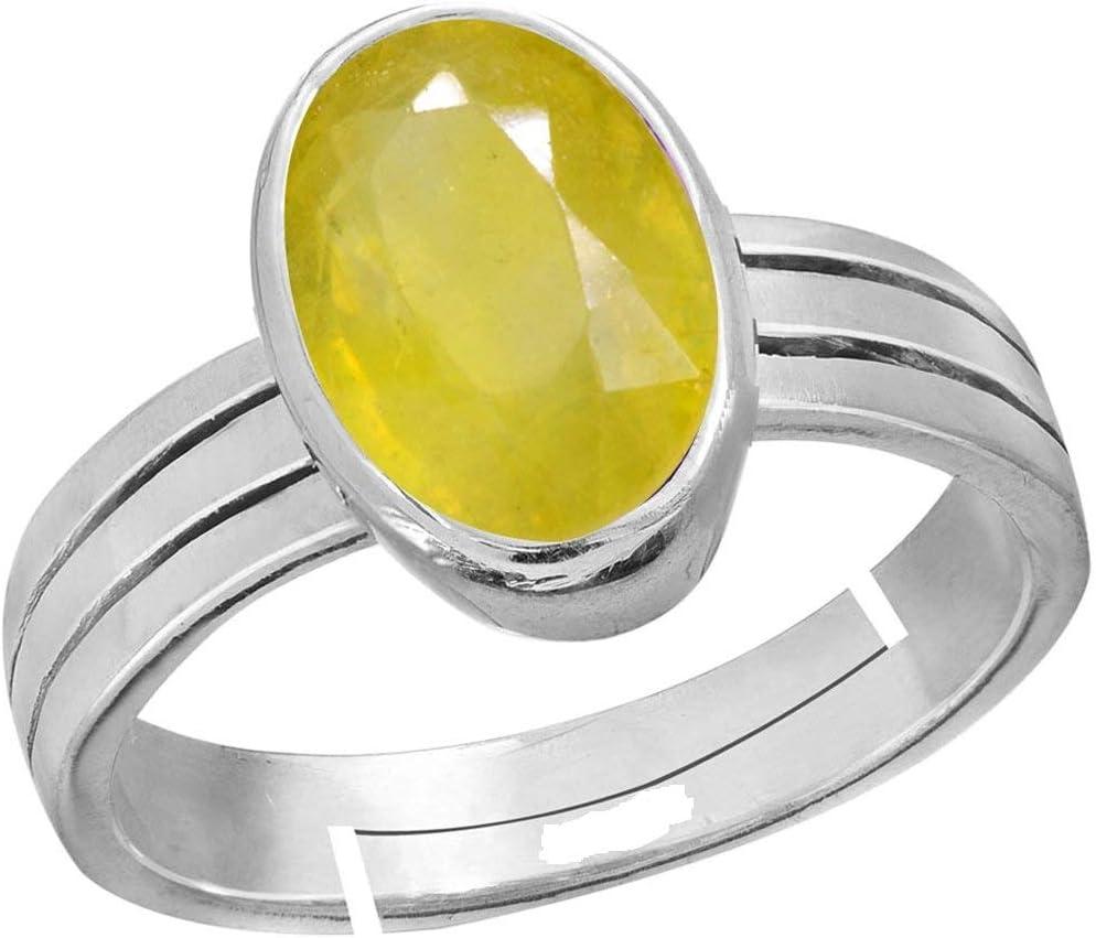 Royalmart 14.25 Ratti Natural Yellow Sapphire Pukhraj Gemstone Sterling Silver Adjustable Ring Men and Women