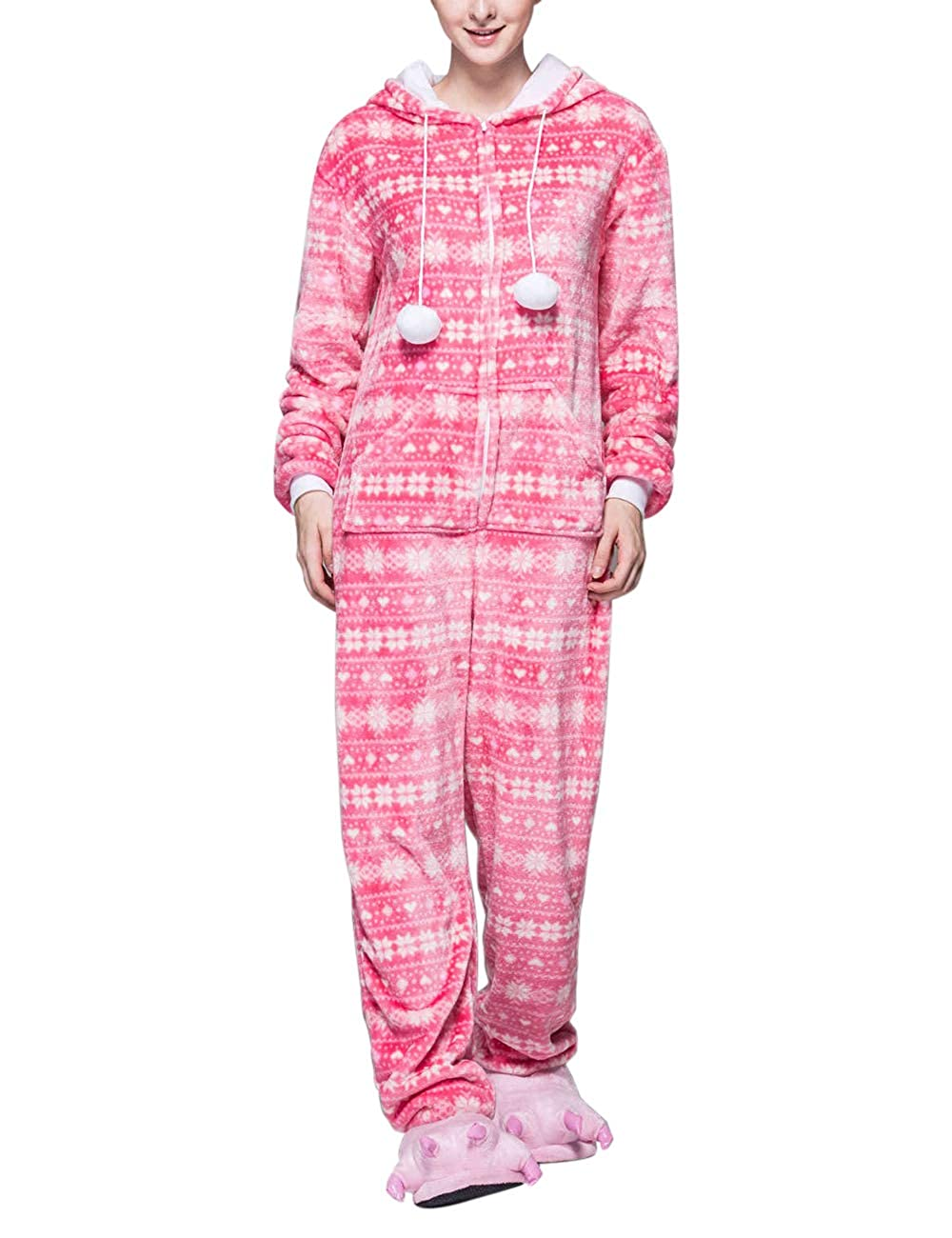 TALLA XL. Zhhlaixing Una Pieza Casual Manga Larga Familia Navidad Pijama para Adultos - Ropa de Dormir Monos Invierno Mujer