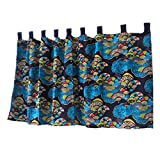Abreeze Fan Pattern Short Curtains Half Shading Cafe Curtain Cotton Linen Valances for Kitchen, Bathroom, 55″ W X27 L For Sale