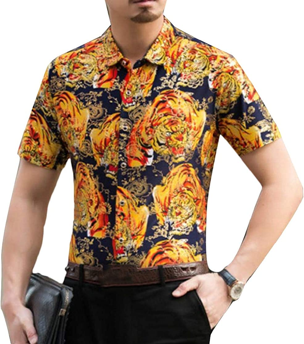 Cromoncent Mens Turn Down Short Sleeve Print Tops Button Down Shirts