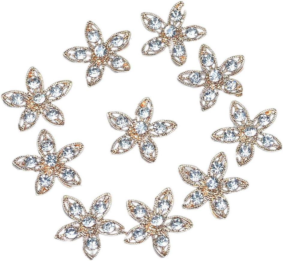 IPOTCH 10x Botones De Flores Huecas Joyas Botones De Diamantes De Imitación Planos Botones De Piedras Preciosas Botones De Perlas Deco DIY