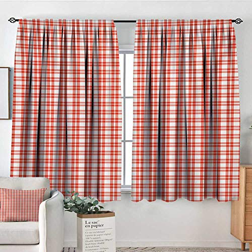 - Plaid Tablecloth Window Curtain Drape Colored and Checkered Country Picnic Pattern Repeating Squares Stripes Modern Decor Curtains by 72