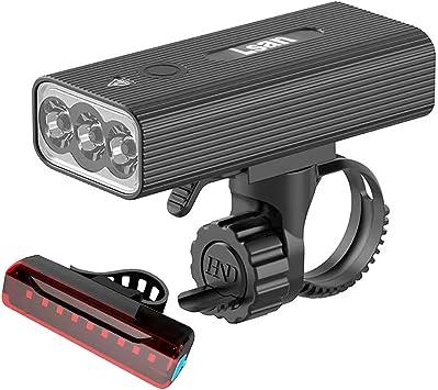 Lsan Luci per Bicicletta Ricaricabili USB,1200 Lumens Super Luminoso Luce Bici Anteriore e Posteriore