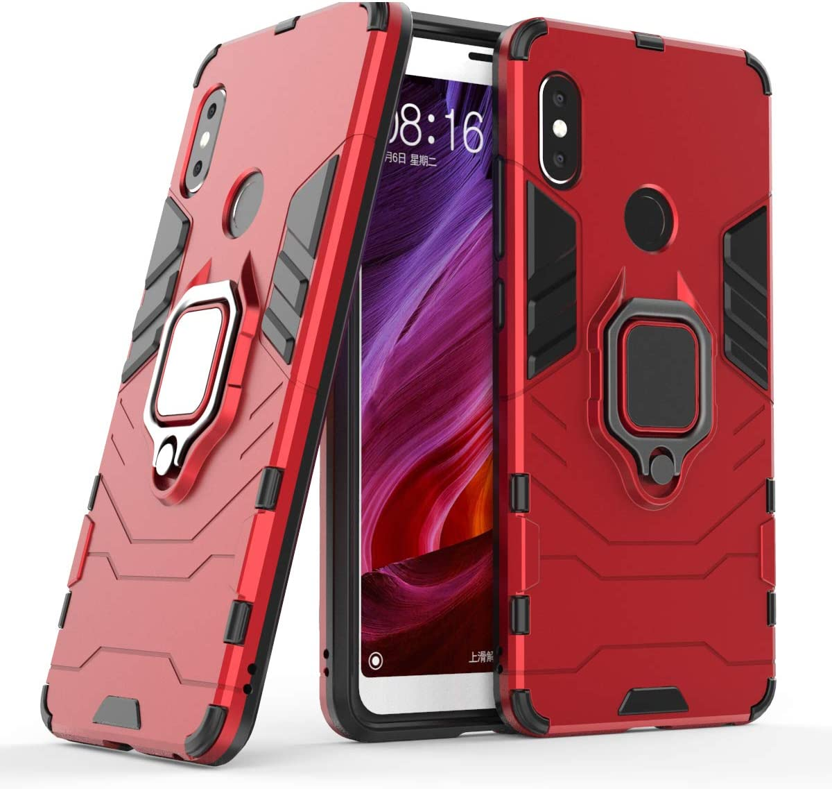 Cocomii Black Panther Ring Xiaomi Redmi Note 5/Note 5 Pro Case, Slim Thin Matte Vertical & Horizontal Kickstand Ring Grip Protection Bumper Cover Compatible with Xiaomi Redmi Note 5/Note 5 Pro (Red)