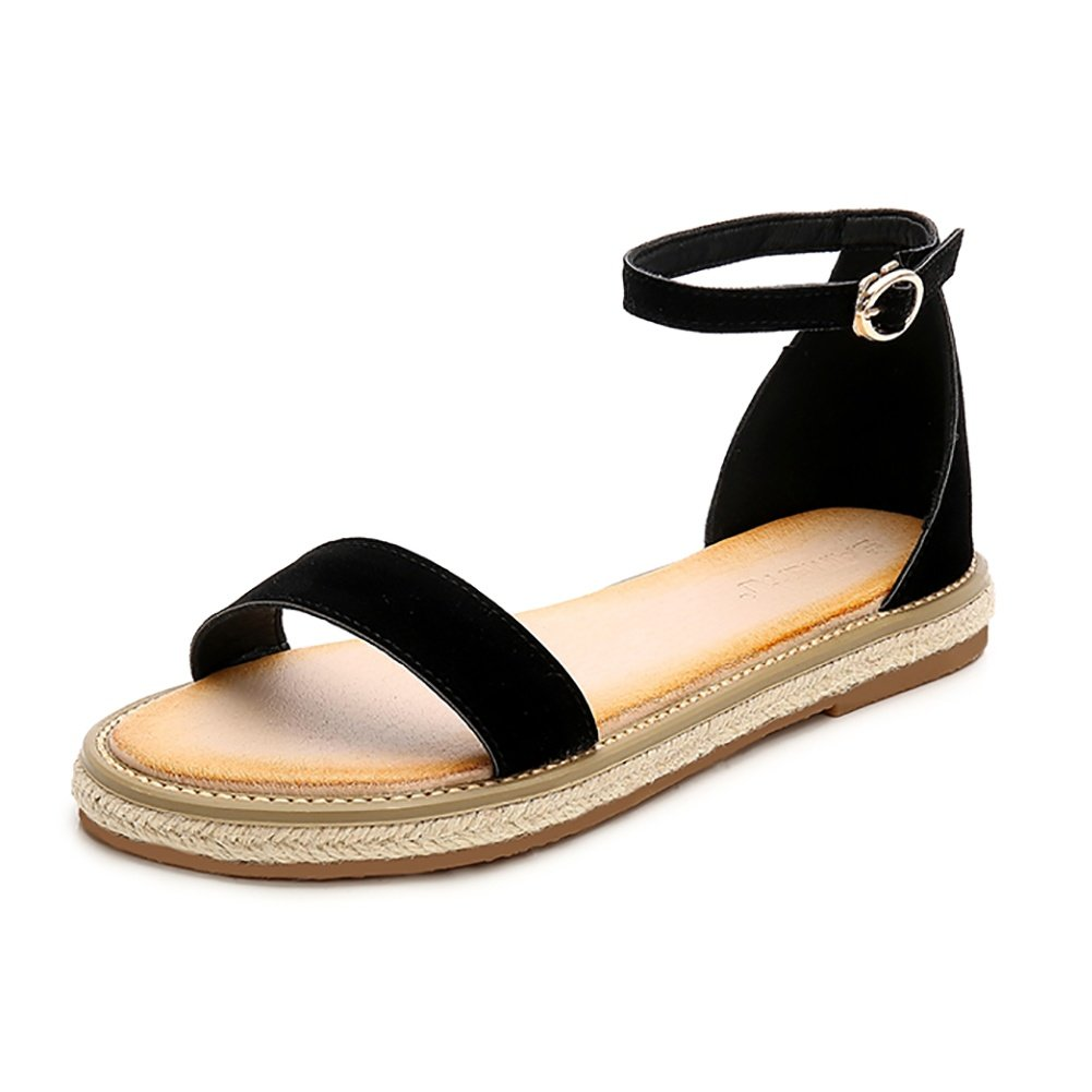 Wollanlily Womens Summer Cute Open Toes One Band Ankle Strap Flat Sandals Casual Shoes(8 B(M) US,Black)