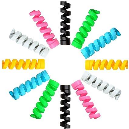 Amazon.com: Elcoho 48 Piezas Cargador Cable Saver Espiral ...