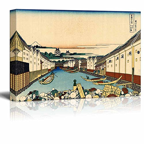 Wll Art Nihonbashi bridge in Edo by Japanese Artist Hokusai Thirty six Views of Mount Fuji Series and Stretched