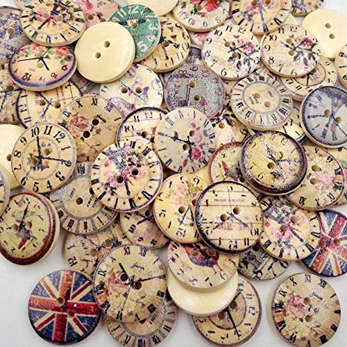 ZEJEUER 100pcs Clock Wood Wooden Buttons Round 2 Holes for Sewing Crafting 20mm ZJ001 (100Pcs Vintage)