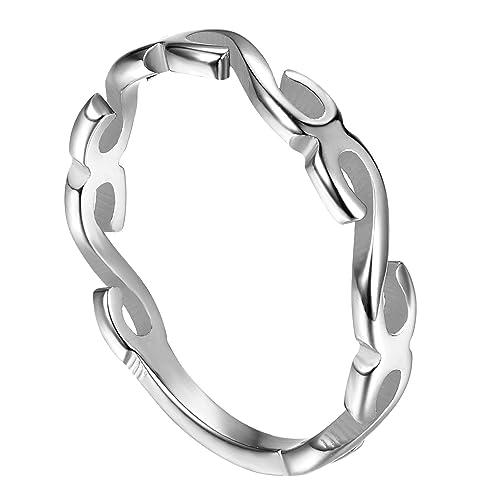 c2259c8e35e8 JewelryWe Schmuck Infinity Unendlichkeits Symbol Edelstahl schmal Damen  Fingerring Partnerringe Verlobungsringe Trauringe Damenring Edelstahlring  Ring ...