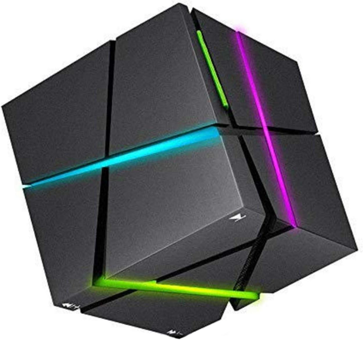 Lámpara De Mesa con Luz Nocturna LED RGB, Mini Subwoofer Portátil Rubik'S Cube con Altavoz Bluetooth HiFi, Altavoz Bluetooth Multifuncional para Lámpara Nocturna,Negro