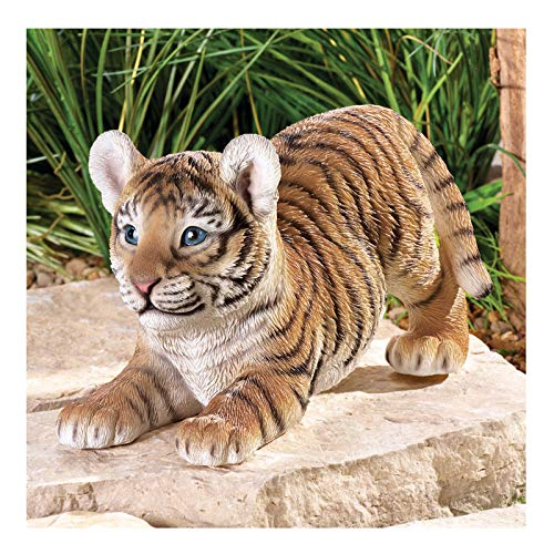 Wildcat Figurine - K&N35 Outdoor Statue Décor Baby Tiger Resin Feline Wild Cat Home Garden Sculpture Figurine Patio Lawn Decor