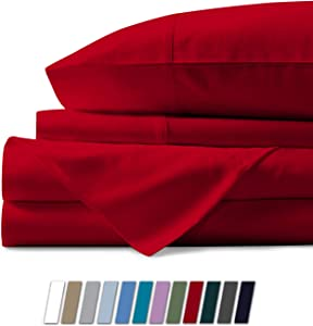 Mayfair Linen 100% Egyptian Cotton Sheets, Red Queen Sheets Set, 800 Thread Count Long Staple Cotton, Sateen Weave for Soft and Silky Feel, Fits Mattress Upto 18'' DEEP Pocket
