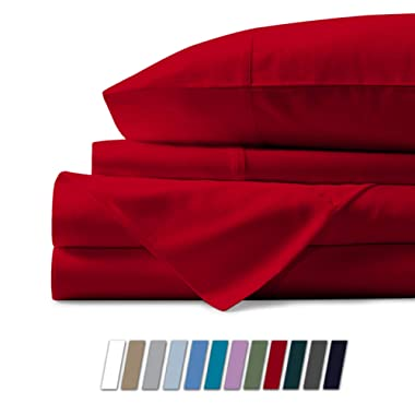 500 Thread Count 100% Cotton Sheet Red Full Sheets Set, 4-Piece Long-Staple Combed Pure Cotton Best Sheets for Bed, Breathable, Soft & Silky Sateen Weave Fits Mattress Upto 18'' Deep Pocket