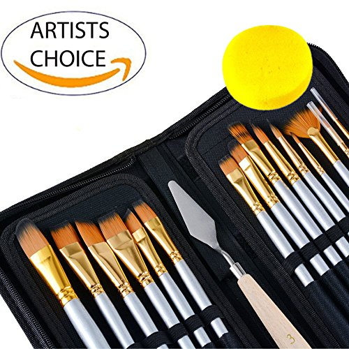 Sale! Reg.$29.99 Now $16.45 Artist Paint Brush Set 15 Different Shapes & Sizes – for Acrylics, Oils, Water Colors and Face & Body Painting. Bonus Palette Knife, Water Color Sponge & Travel Case! by Freestyle Art