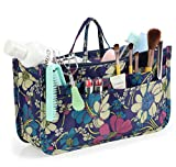 Cosmetic Bag for Women Cute Printing 14 Pockets Expandable Makeup Organizer Purse with Handles (Blue Flower)