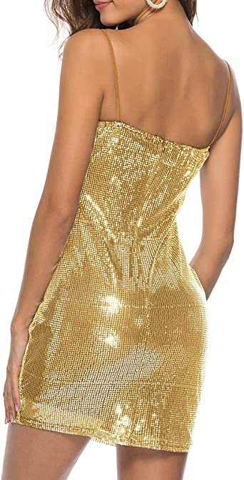 Damska Kleid für Damska Elegant Somerl Damska Kleider Sommer Sexy Feste Pailletten Sling Party Minikleid Kleidung für Damska: Odzież