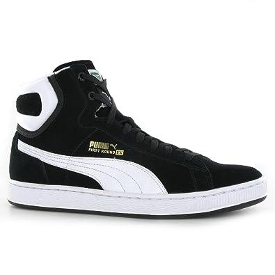 3eddc918825 Puma First Round Ex Black White Mens Trainers Size 9 UK  Amazon.co.uk  Shoes    Bags