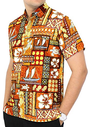LA LEELA Likre Business Casual Wrinkle Free No Iron Easy Care Tacky Discount Sale Party Beige Hawaiian Tropical Brown