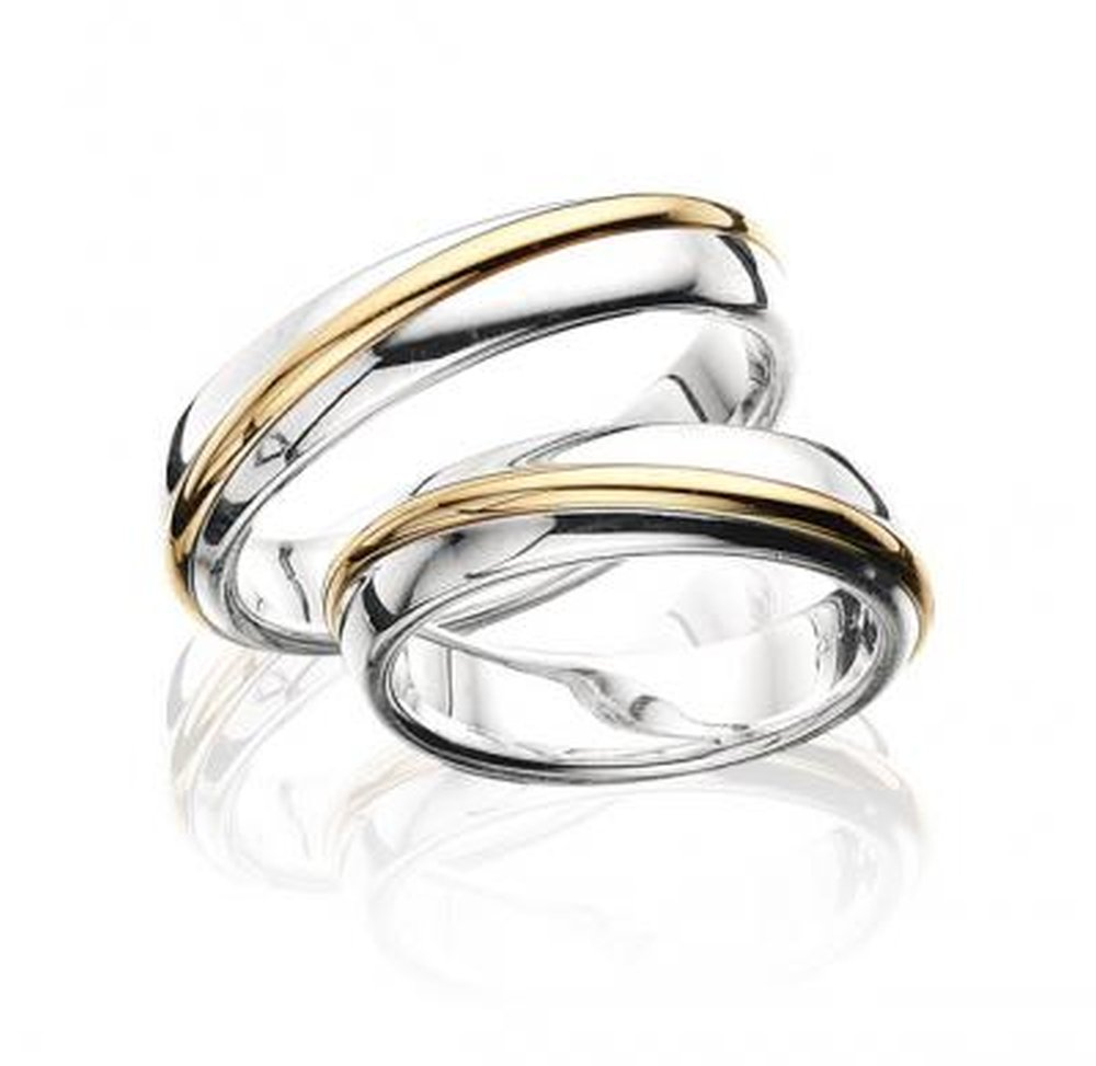 Stylish 14k White and Yellow Gold His and Hers Matching Wedding Rings 5 Mm by Appealing Wedding Bands