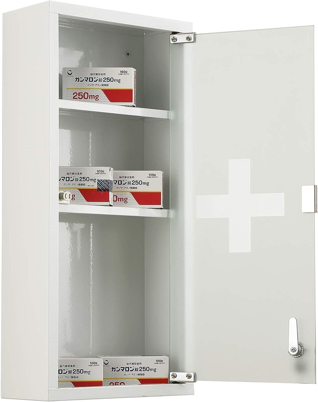 HOMCOM Botiqu/ín de Primeros Auxilios para Colgar en la Pared Incluye Cerradura con Llave y Estantes en su Interior 27x12x57 cm Puerta de Cristal