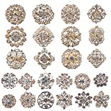 Mutian Fashion Lot 24pc Clear Rhinestone Crystal Flower Brooches Pins
