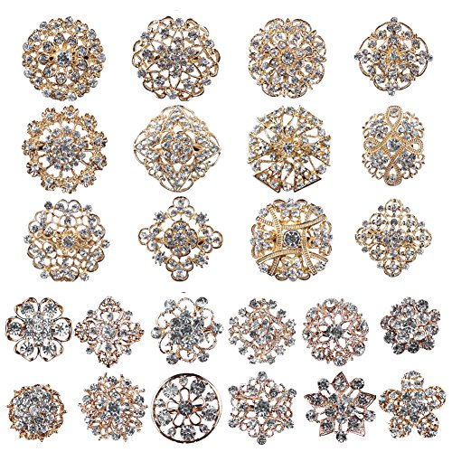 Mutian Fashion Lot 24pc Clear Rhinestone Crystal Flower Brooches ()