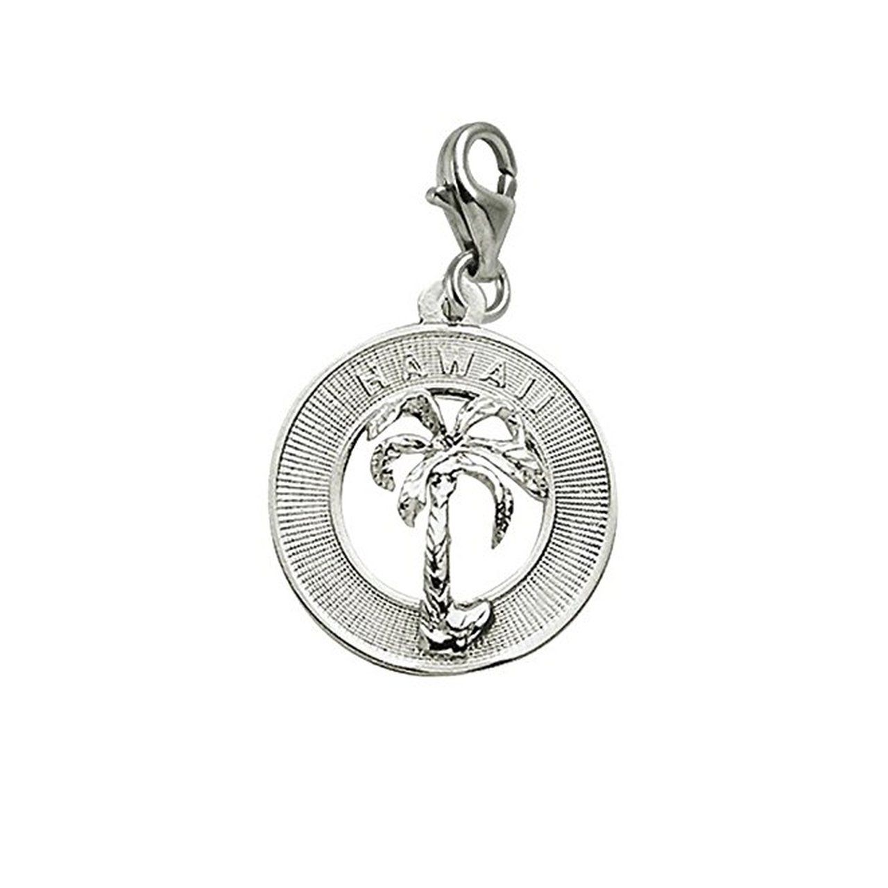 Sterling Silver Hawaii Charm With Lobster Claw Clasp, Charms for Bracelets and Necklaces