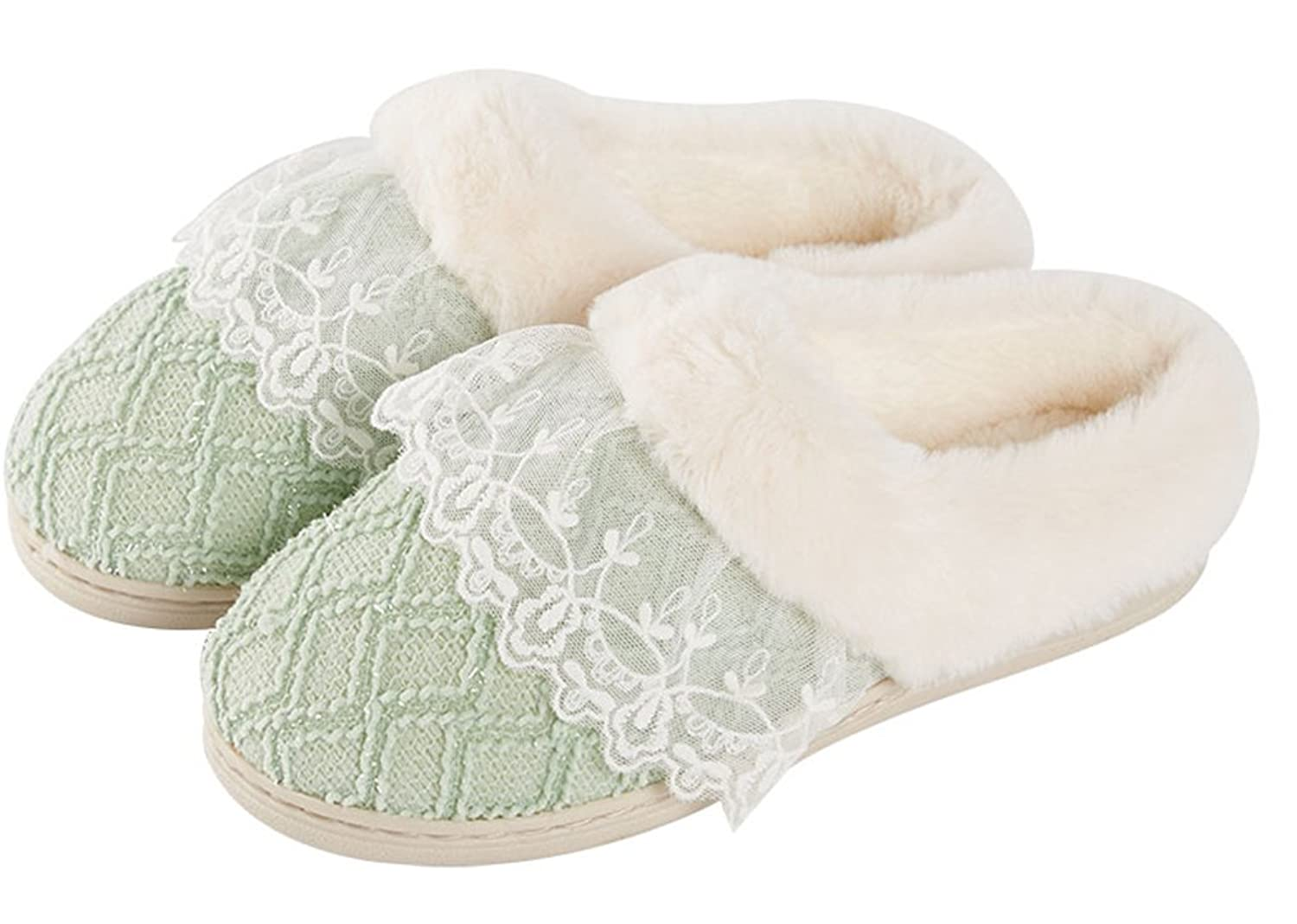 FreLO Women's Green Cotton Lace Adorable Winter Slippers Slippers