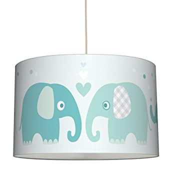 Lovely Label Hangelampe Elefanten Mint Grau Lampenschirm Fur
