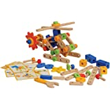 Constructive Playthings HXN-33 CP Toys 84 pc. Wooden Nut/Bolt Builder with Screwdriver and Activity Cards