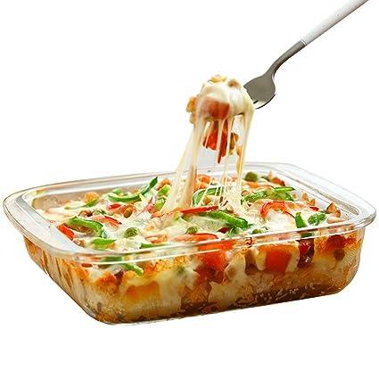 Bandeja de pizza Bandeja cuadrada Bandeja de horno de vidrio resistente al calor Bandeja de arroz