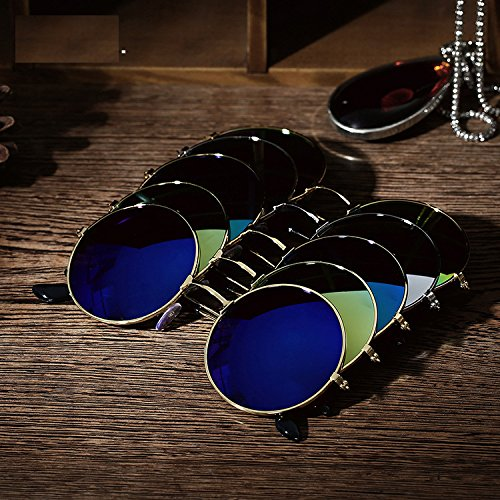 Men Women Retro Vintage Round Mirrored Sunglasses Eyewear Outdoor Sports Glasses - Eyewear Brands Sports