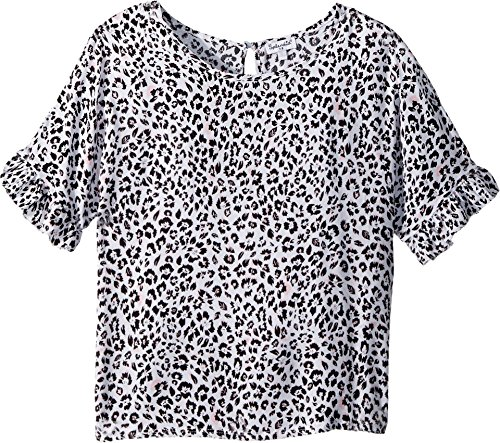 Splendid Big Girls' Voile Top, Optic White, 12 - Splendid Leopard