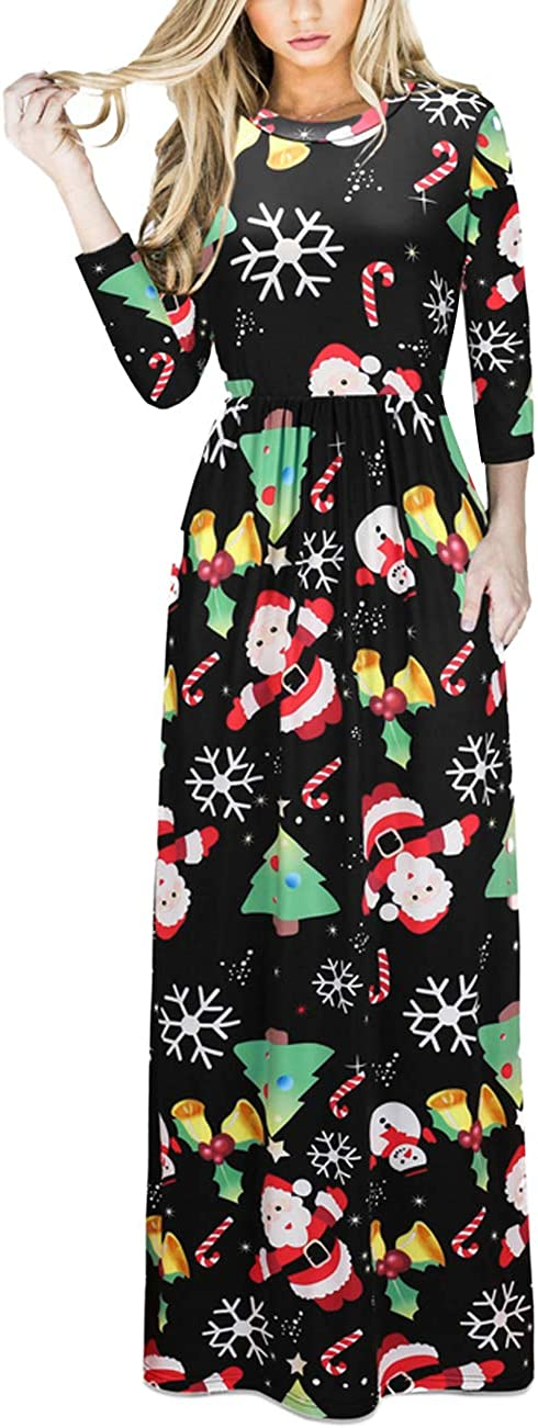TALLA XL=ES 46-48. FeelinGirl Mujeres Vestido Largo Estampado Floral de Fiesta Navidad Falda Maxi de Manga Larga Nochebuena Multicolor-05 XL=ES 46-48