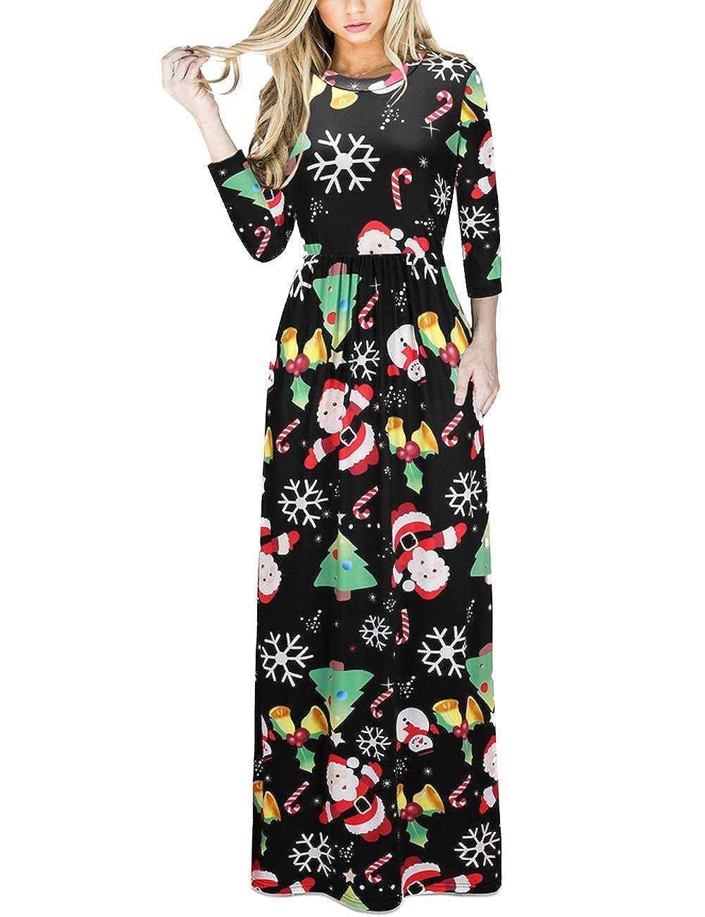 TALLA M=ES 40-42. FeelinGirl Mujeres Vestido Largo Estampado Floral de Fiesta Navidad Falda Maxi de Manga Larga Nochebuena Multicolor-05 M=ES 40-42