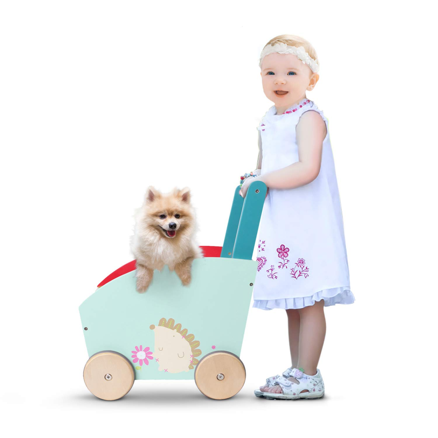 labebe - Baby Walker, Stroller Wagon, Kid Green Push Toy for 1 Year Old, 2 Year Old Red Shopping Cart/Yellow Mini Wood Storage/Early/Infant/Doll/Balance/Girl Boy First/Learning/Sit-to-Stand/Activity