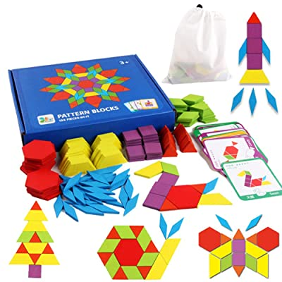 Educational Toys for 3-8 Year Old Boys, Wooden Pattern Blocks Puzzles for Toddler Kids Ages 3-5 5-7 Toys for 3-8 Year Old Girls Gifts for 3-8 Year Old Boys Girl Birthday Present: Sports & Outdoors