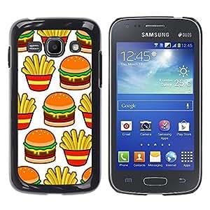 FlareStar Colour Printing Hamburger Fries French Fast Food Junk cáscara Funda Case Caso de plástico para Samsung Galaxy Ace 3 III / GT-S7270 / GT-S7275 / GT-S7272