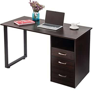 Merax WF016106BAA WF016106 Modern Simple Design Computer Desk Table Workstation with Cabinet and Drawers for Home & Office (Espresso),