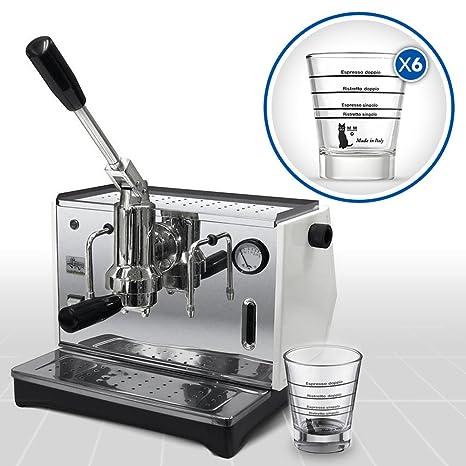 LaGondola Bundle – Máquina de café expreso cromada «Pontevecchio Lusso» con manómetro y juego