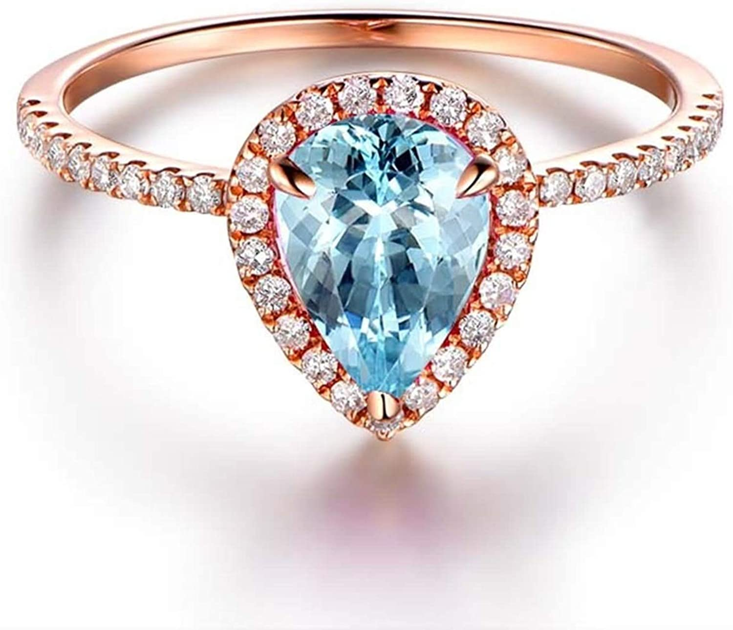 AMDXD Jewelry 925 Sterling Silver Rings Women Blue Round Cut Topaz Round Ring