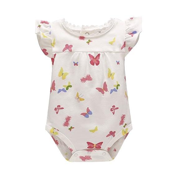 Evedaily Body Bébé Fille Été Barboteuses Combinaison Coton Rose Imprimé  Papillon Romper 3-6 Mois f62ea236933