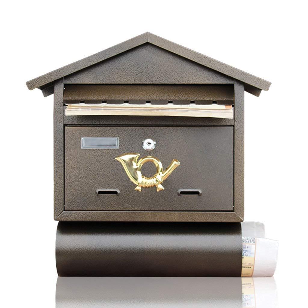 RANRANJJ Curbside Security Locking Mailbox Outdoor Wrought Iron Wall Hanging Newspaper Box Bar Creative Suggestion Box Cafe Retro Wall Post Mailbox, Black by RANRANJJ