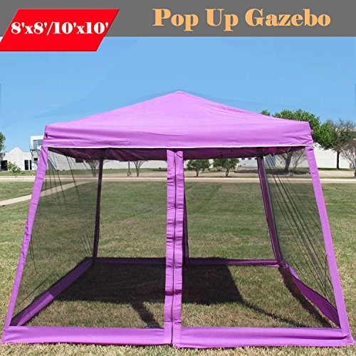 8'x8'/10'x10' Pop up Canopy Party Tent Gazebo Ez with Net (Purple)