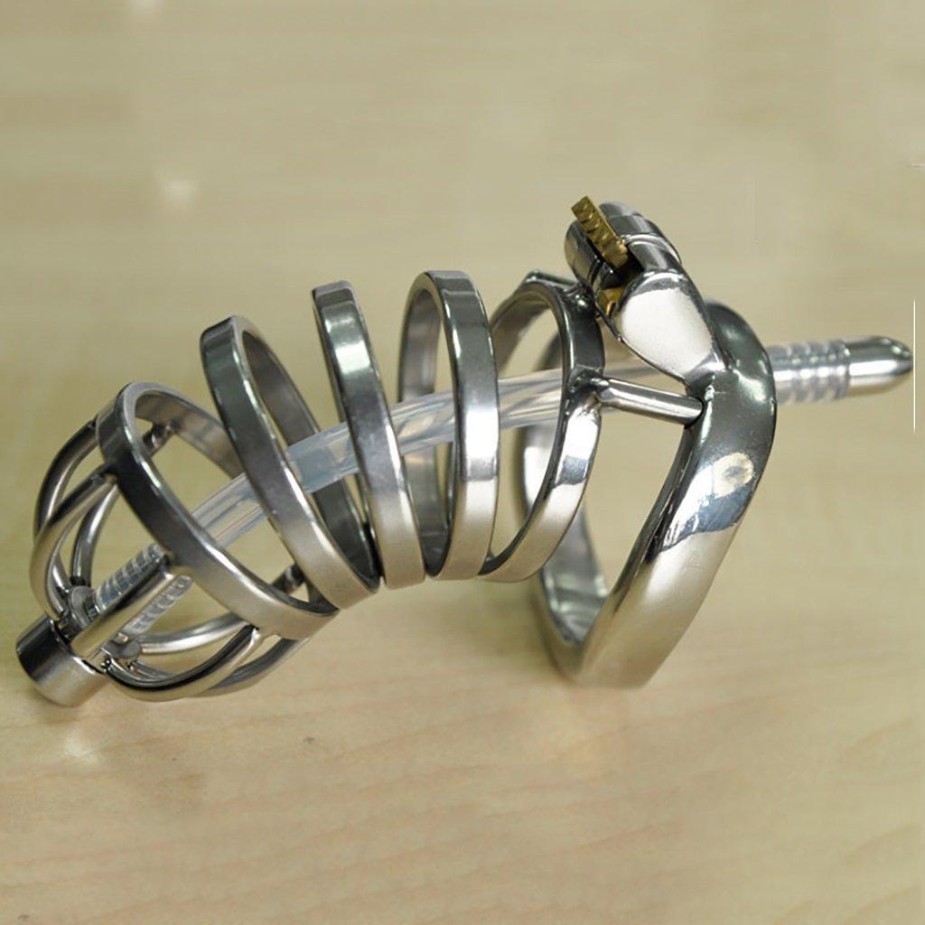 Cinturón de castidad Jaula de castidad, juguetes sexuales, acero para inoxidable para acero hombres con cerradura de castidad con conductos/correa CB6000 anillo a presión curvo A276-1 (Color : 45mm) 5690d8
