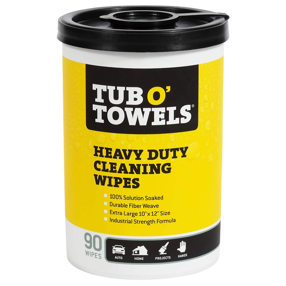 "B00022W4ZU Tub O Towels TW90 Heavy-Duty 10"" x 12"" Size Multi-Surface Cleaning Wipes, 90 Count Per Canister 61u6bZ5I8HL"